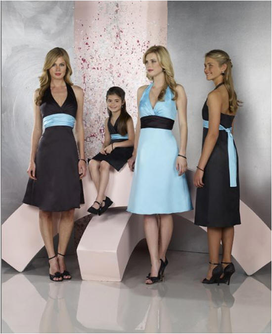 blue and black bridal party dress