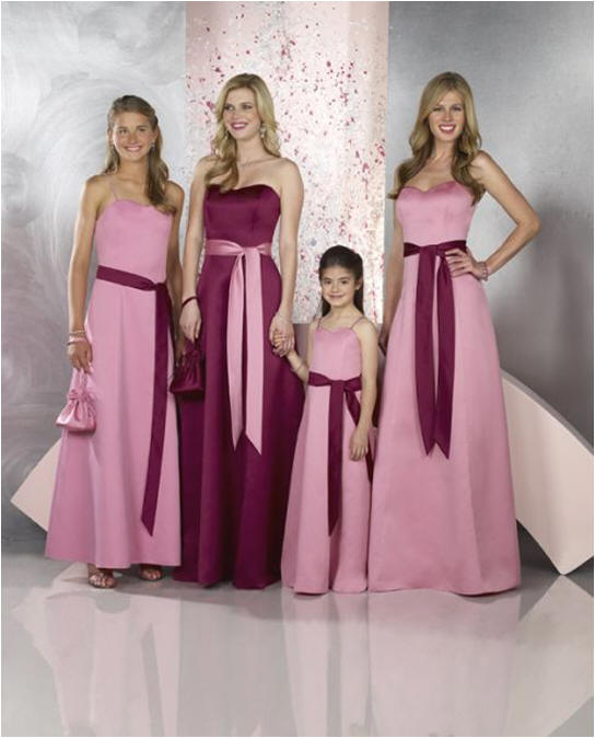 Long Pink Strapless Bridesmaid Dresses