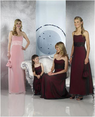 berry and pink bridesmaid dresses