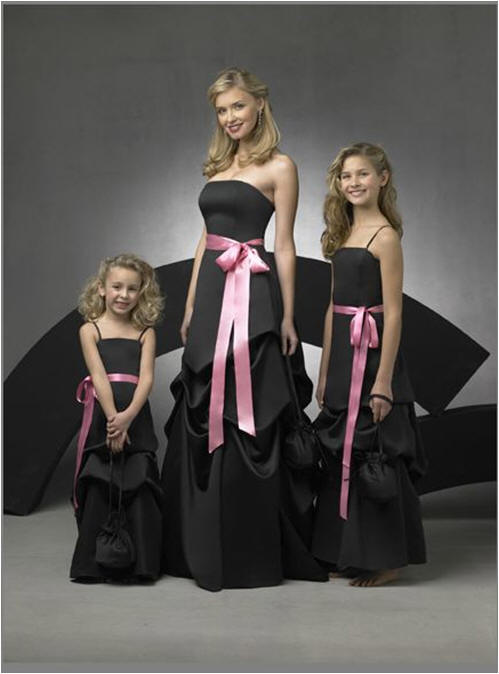 black wedding party dresses with pink sash
