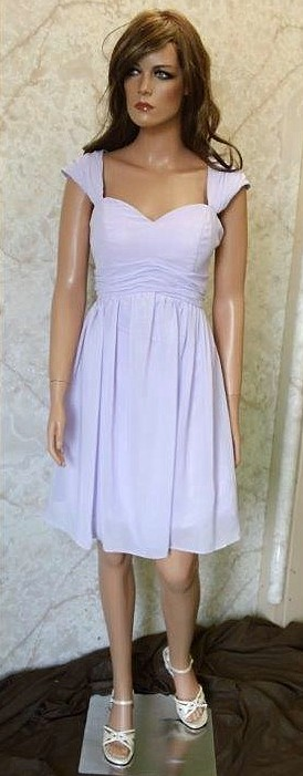 short sweetheart chiffon lilac bridesmaid dress