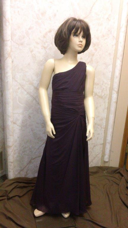 one shoulder purple bridesmaid dresses