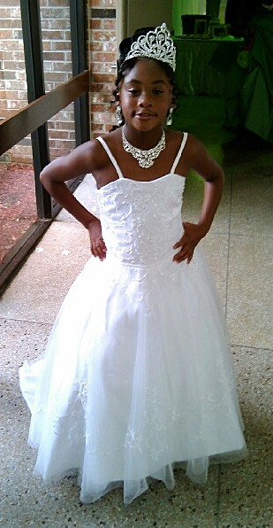 Embroidered tulle flower girl wedding dress