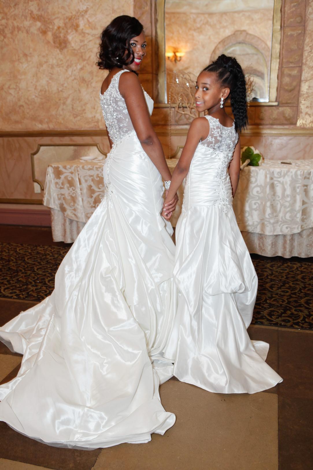 Brides Dress And Matching Flower Girl Dress