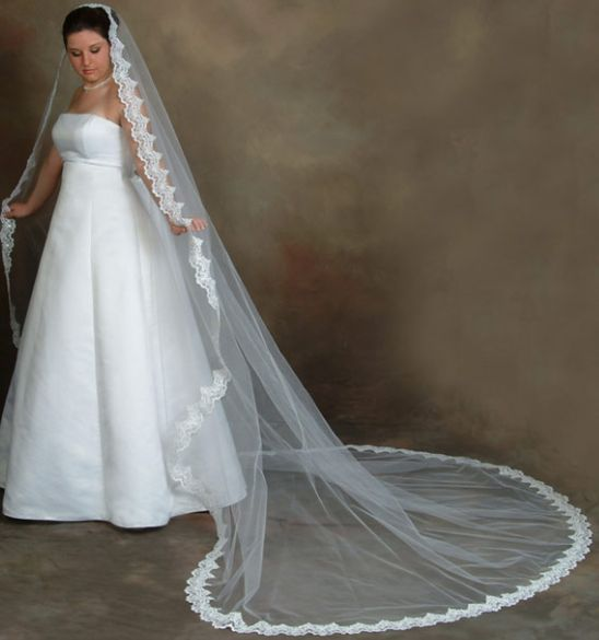 Grand Cathedral Veil trimmed in lace