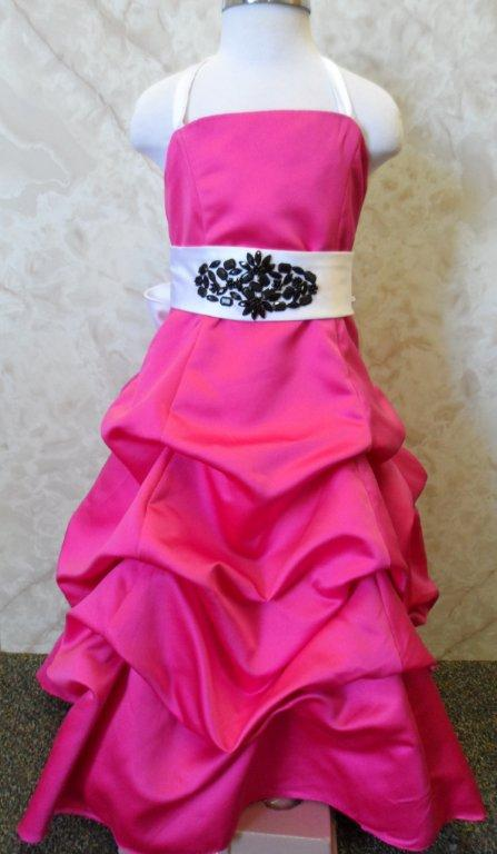 pink pickup flower girl dress with white and black