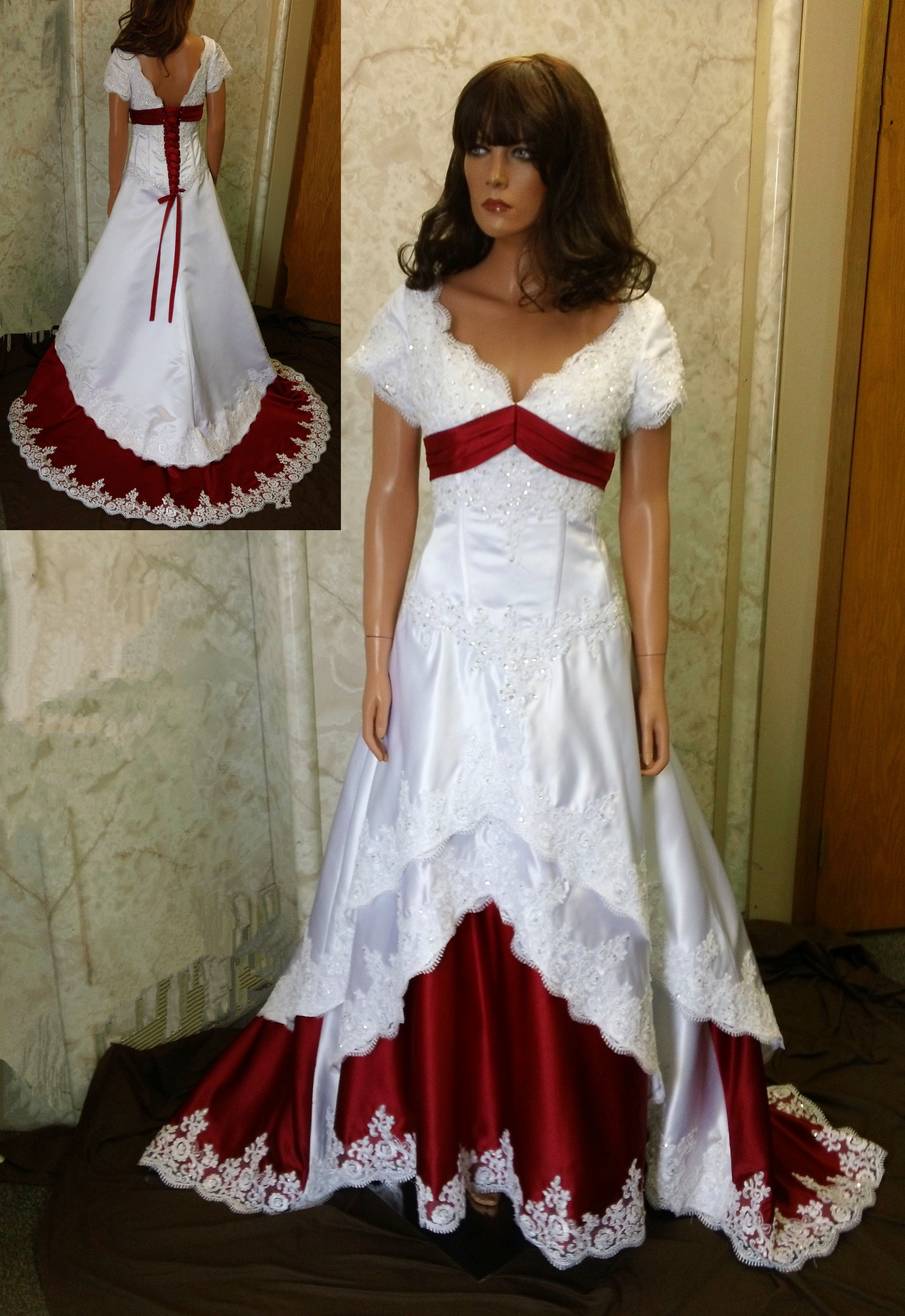 white and apple red wedding gown