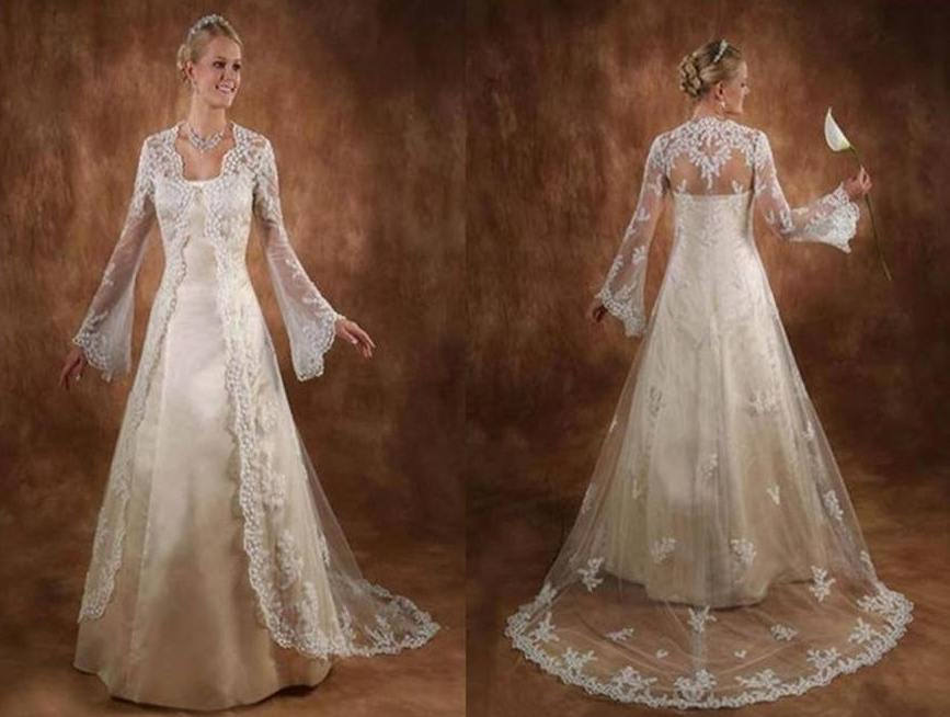 Two Piece Wedding Gown Includes Sweep Train Jacket With Belle Sleeves.