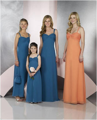 Orange and blue bridesmaid dresses