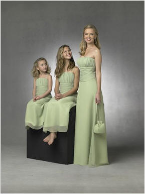 long sage bridesmaid dresses matching flower girl dresses