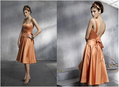 short apricot bridesmaid dress