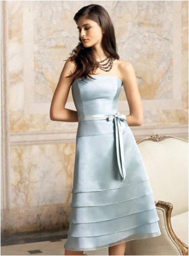 blue tiered cheap strapless bridesmaid dresses