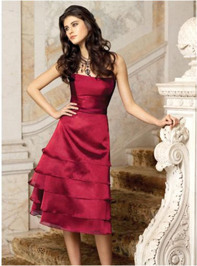 apple red tiered bridesmaid dresses strapless short