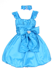 turquoise bubble hem little girl dresses