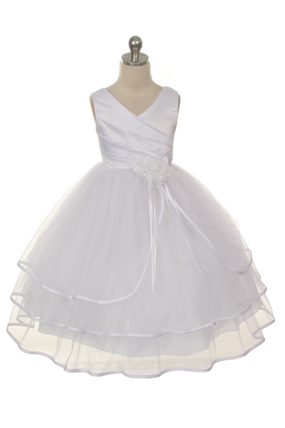 Girls tiered flower girl dresses