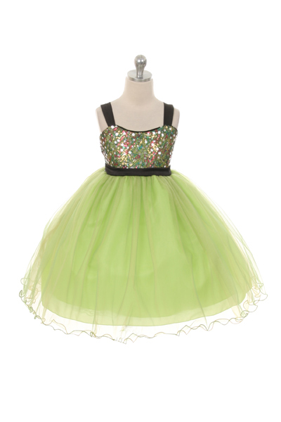 lime green sequin and tulle girls dresses