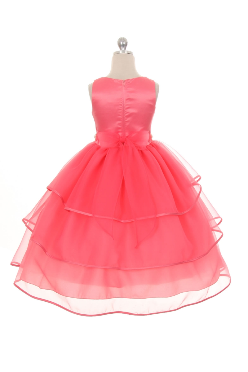 coral organza girls dress $70