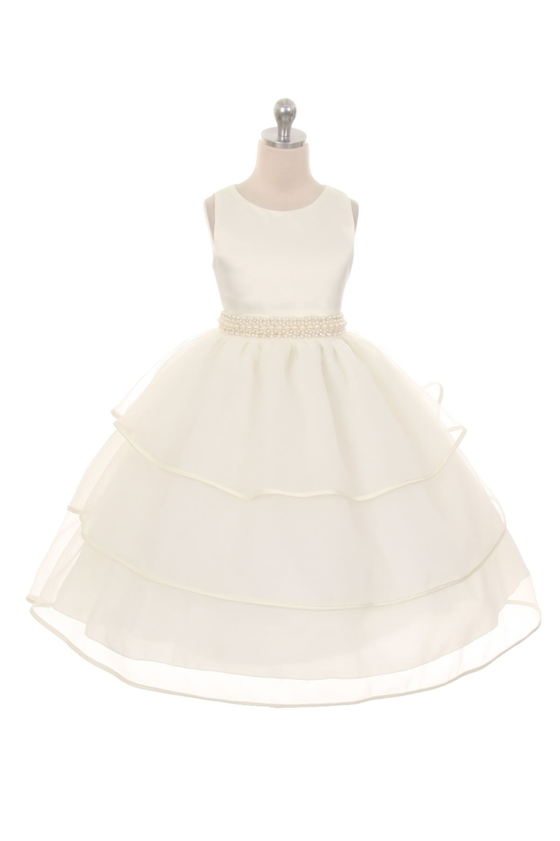 ivory layered flower girls dress with rhinestone sash