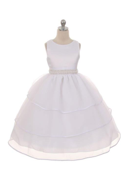 white layered flower girls dress with rhinestone sash