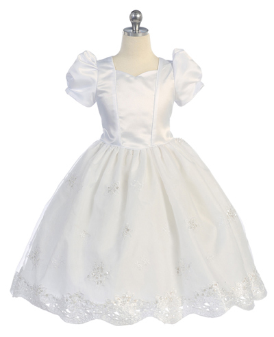 white puff sleeve flower girl dress