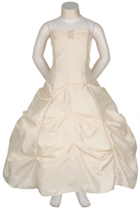 ivory ruched bodice pick up dress