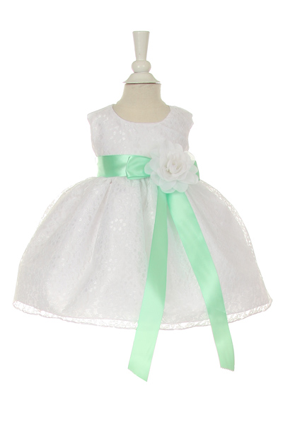 baby dress with emerald green sash