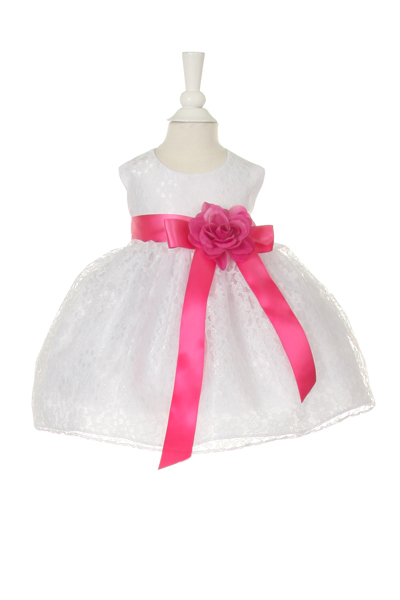 baby dress with fucshia sash