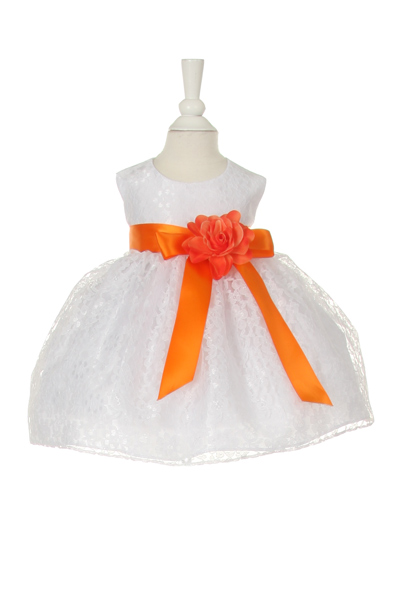 baby dress with orange sash