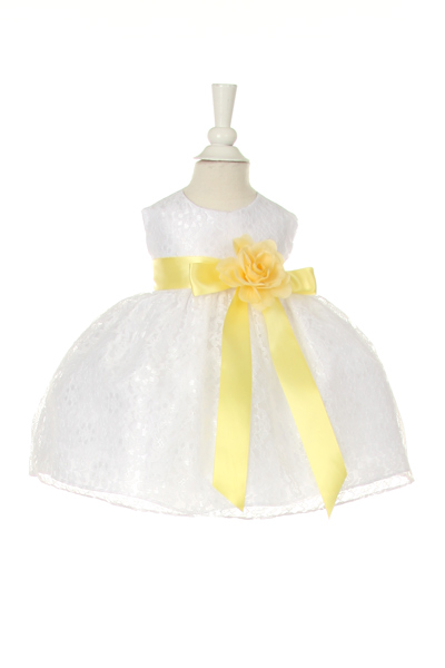 baby dress with yellow sash