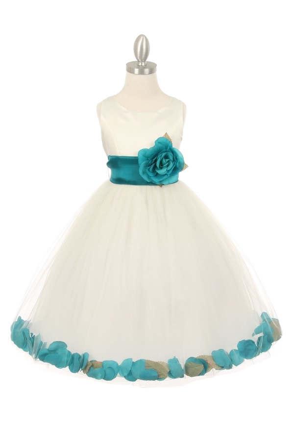 ivory baby flower girl dress with teal petals and sash