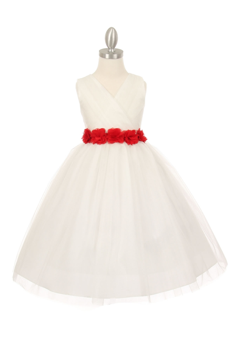 girls white dress with red sash