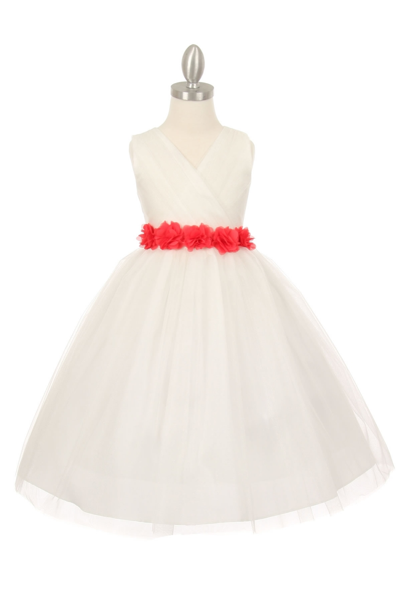 white dress with coral sash