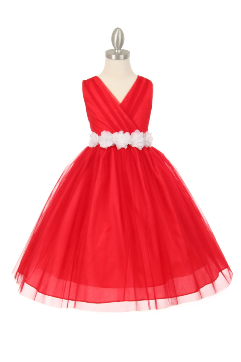 girls red dress with white sash