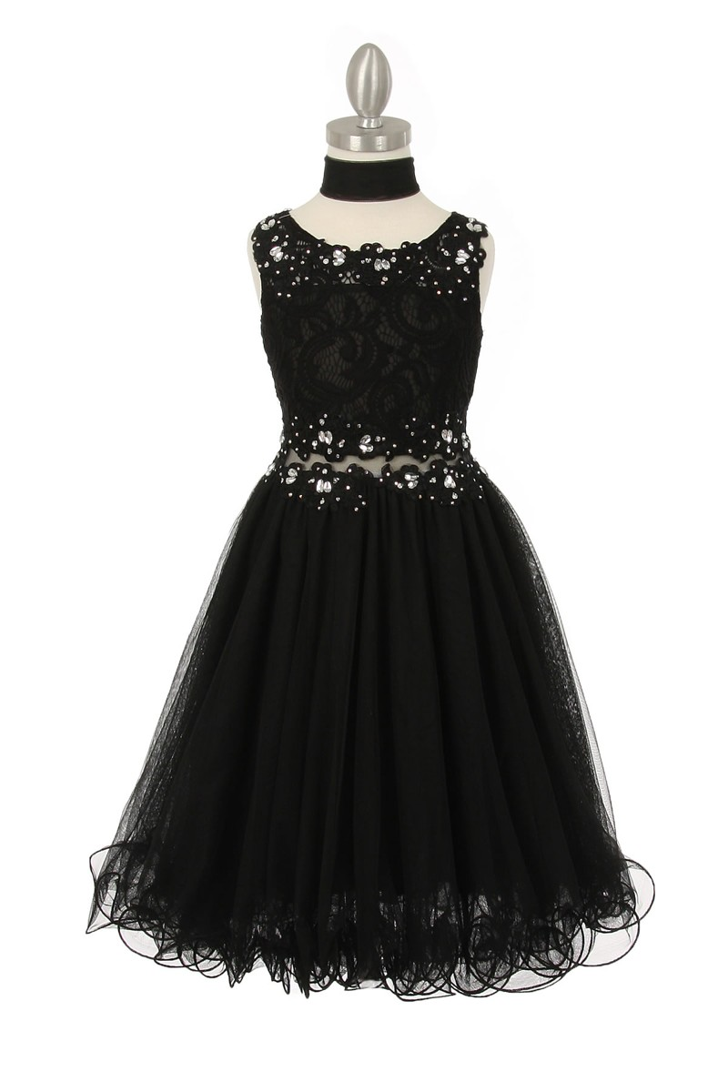 Black Sparkle Sequin Lace Bodice Tulle Skirt Flower Girl Dresses