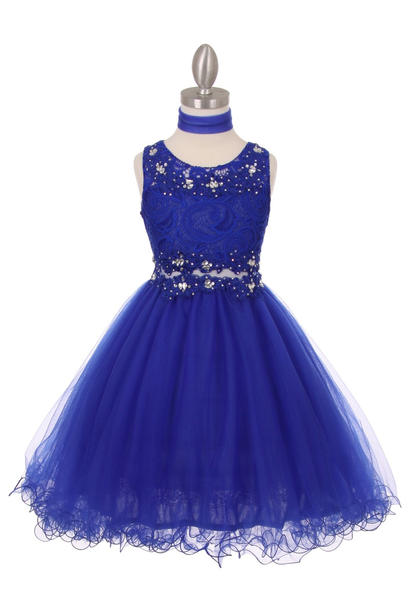 blue lace girls dress