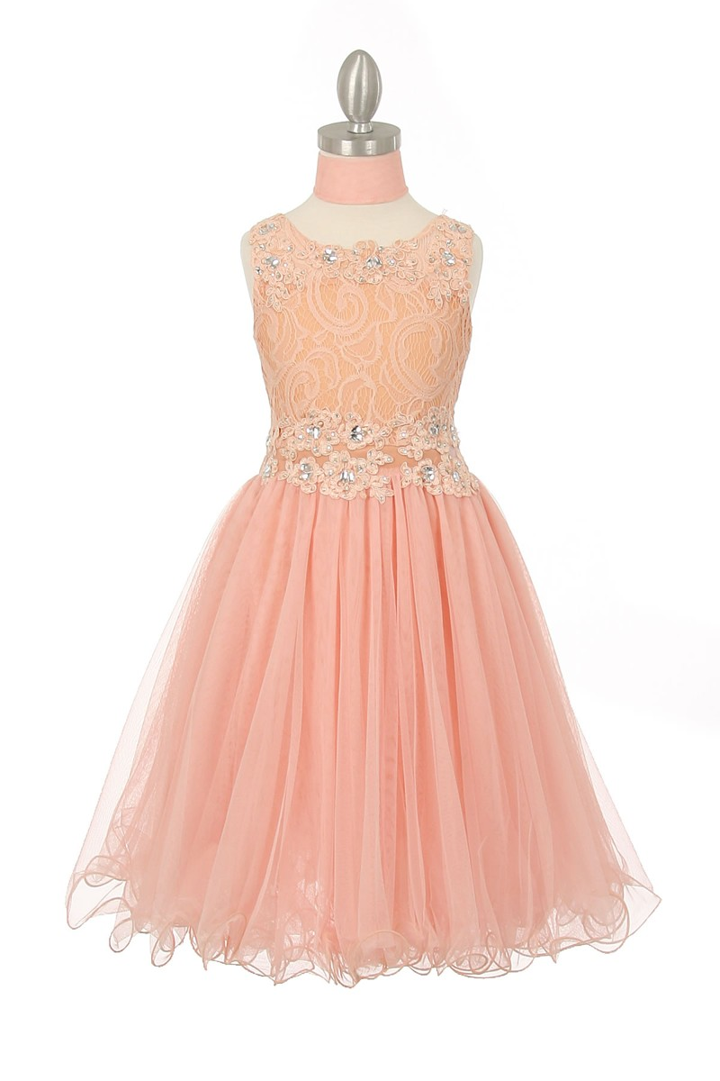 peach fancy dresses for girls