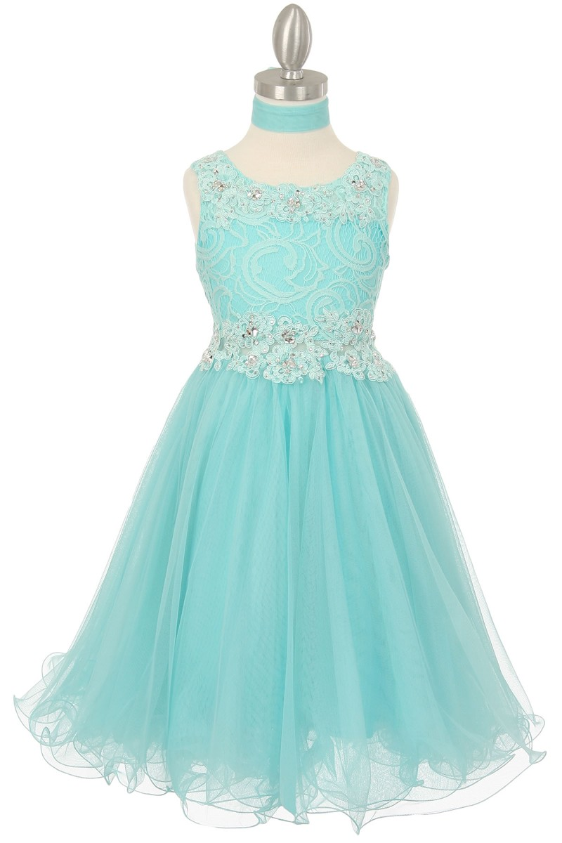 aqua lace girls dress