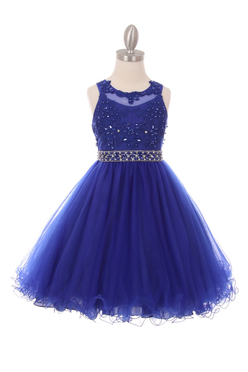 blue Big Girls Party Dresses