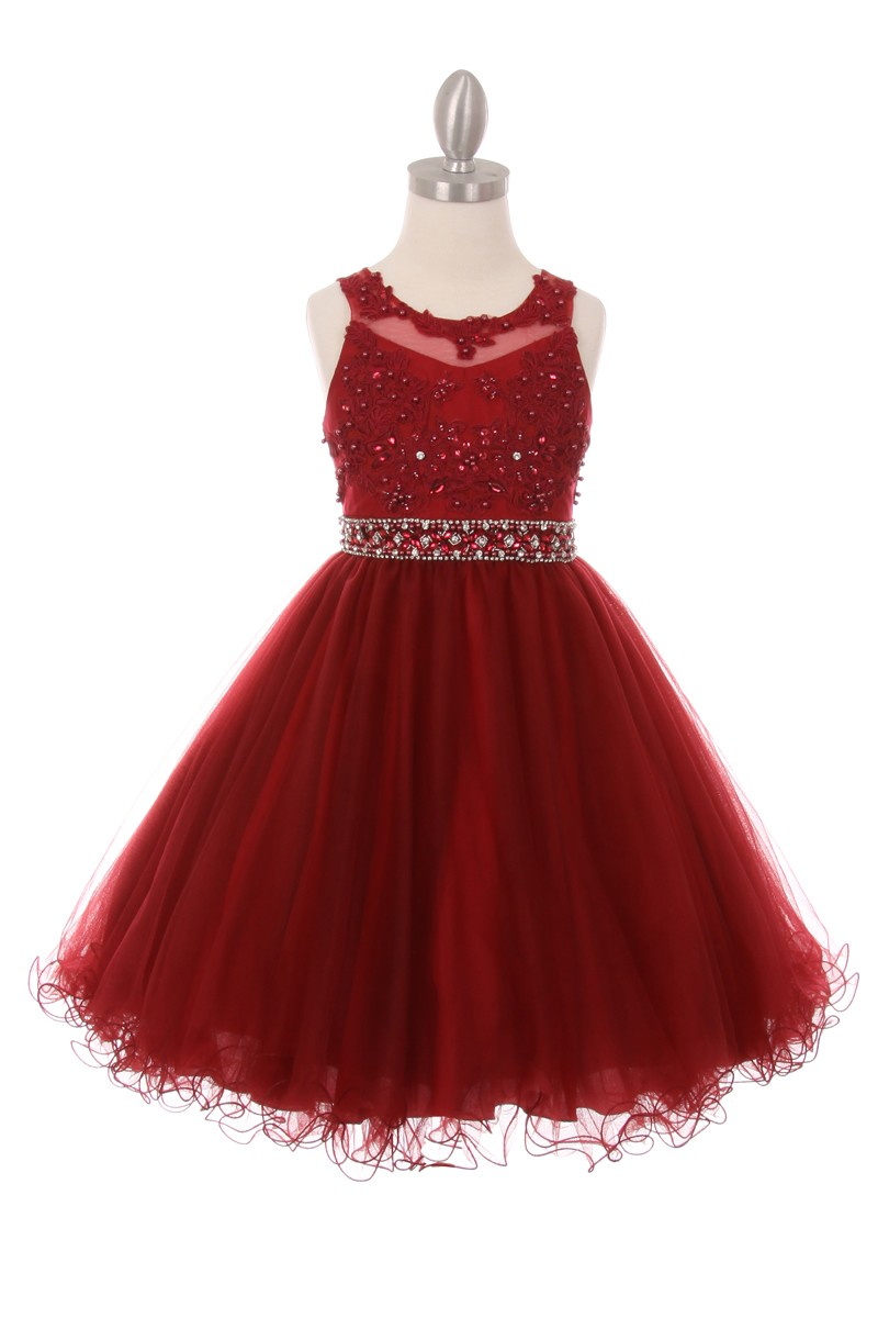 burgundy Big Girls Party Dresses