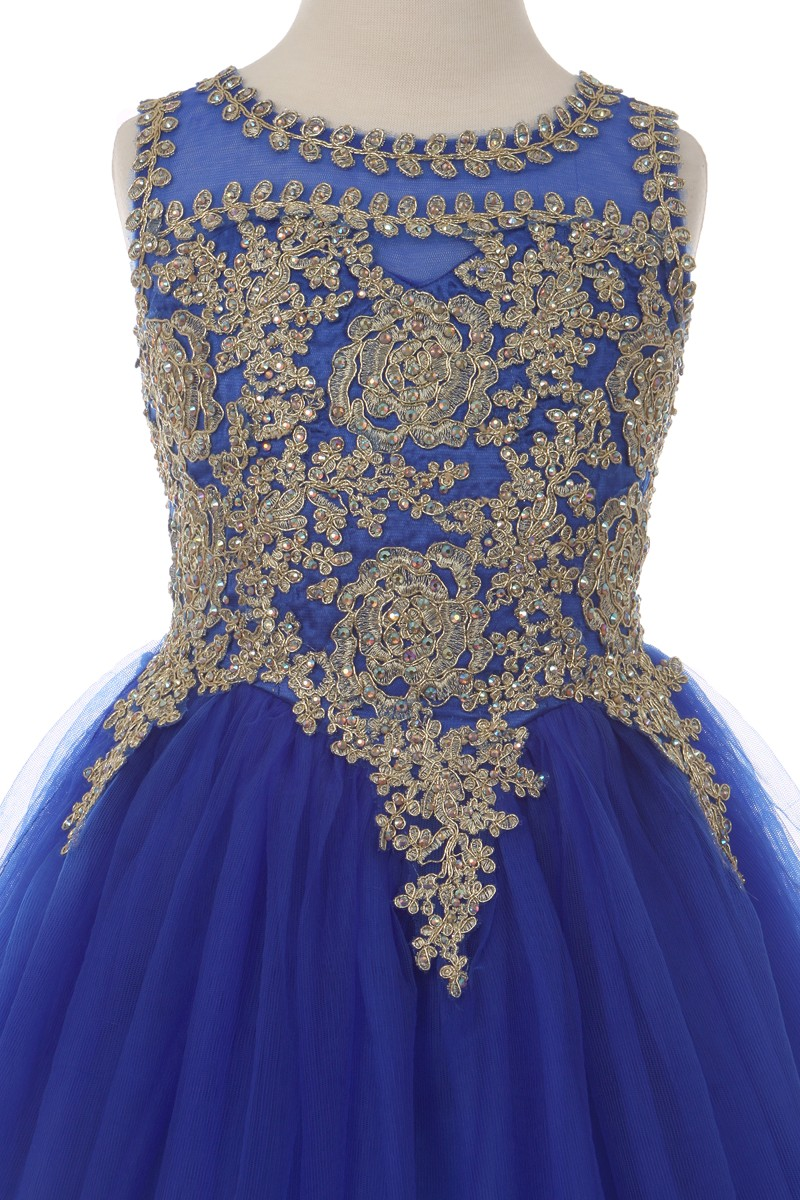blue gold Girls big size dresses