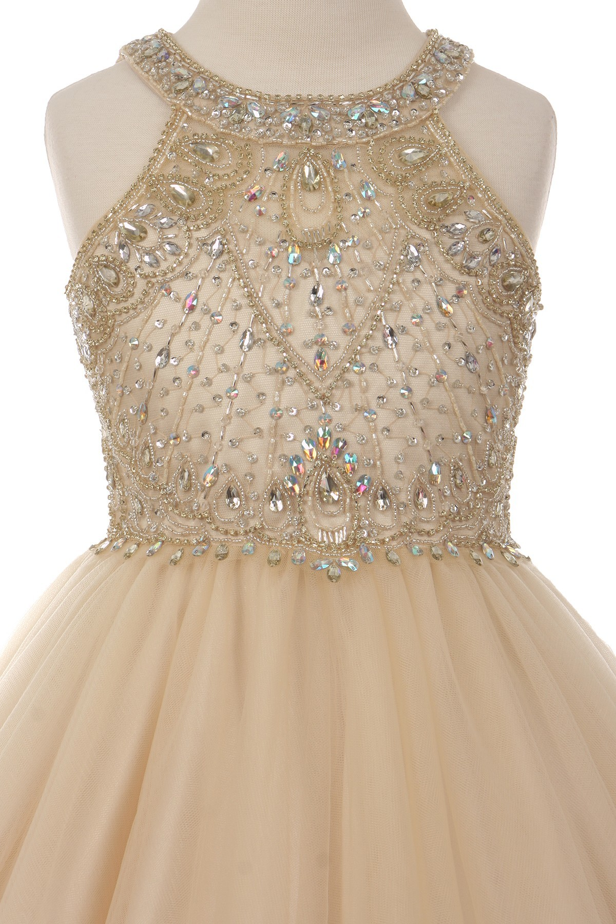 champagne little girl special occasion dresses