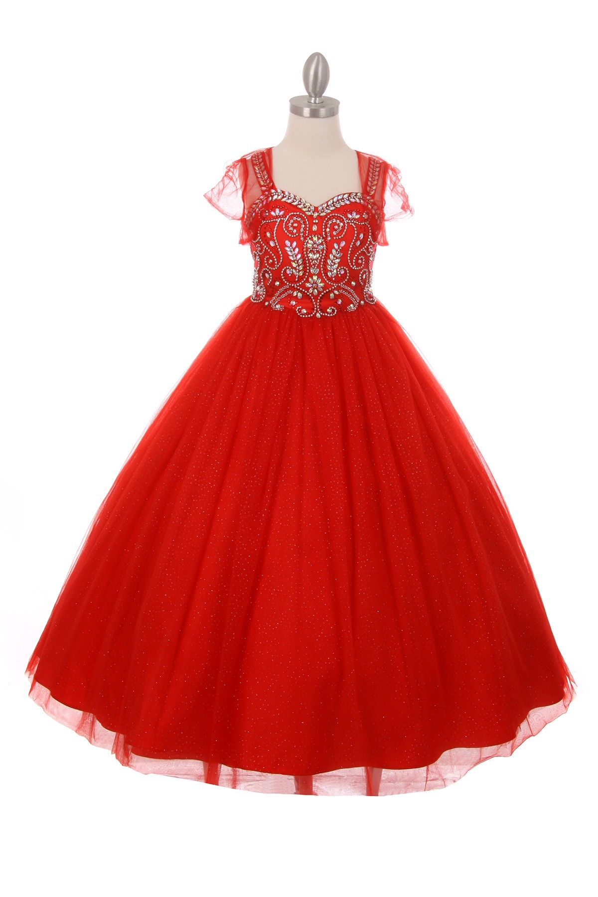 red rhinestone pageant dresses