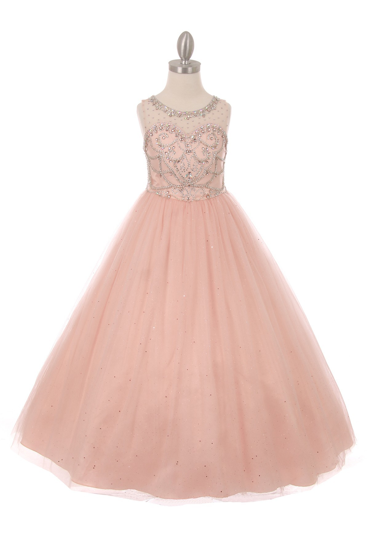 long blush girls pageant dresses