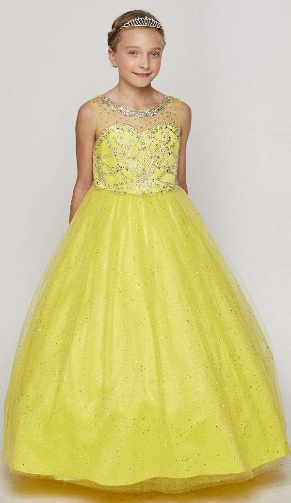 sparkling yellow pageant gown