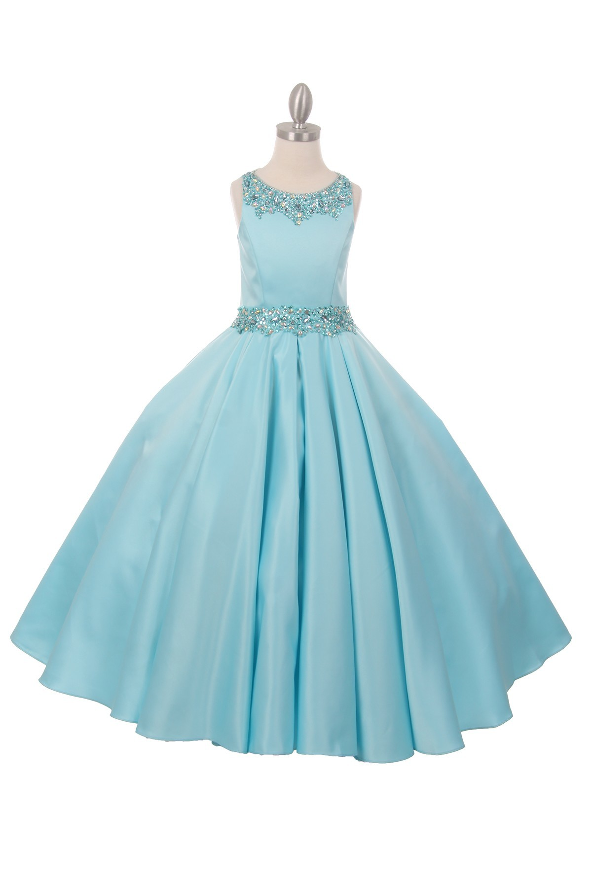 long aqua junior bridesmaid dress