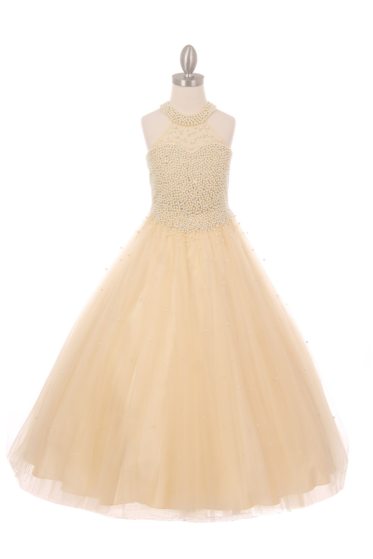 champagne pageant gown