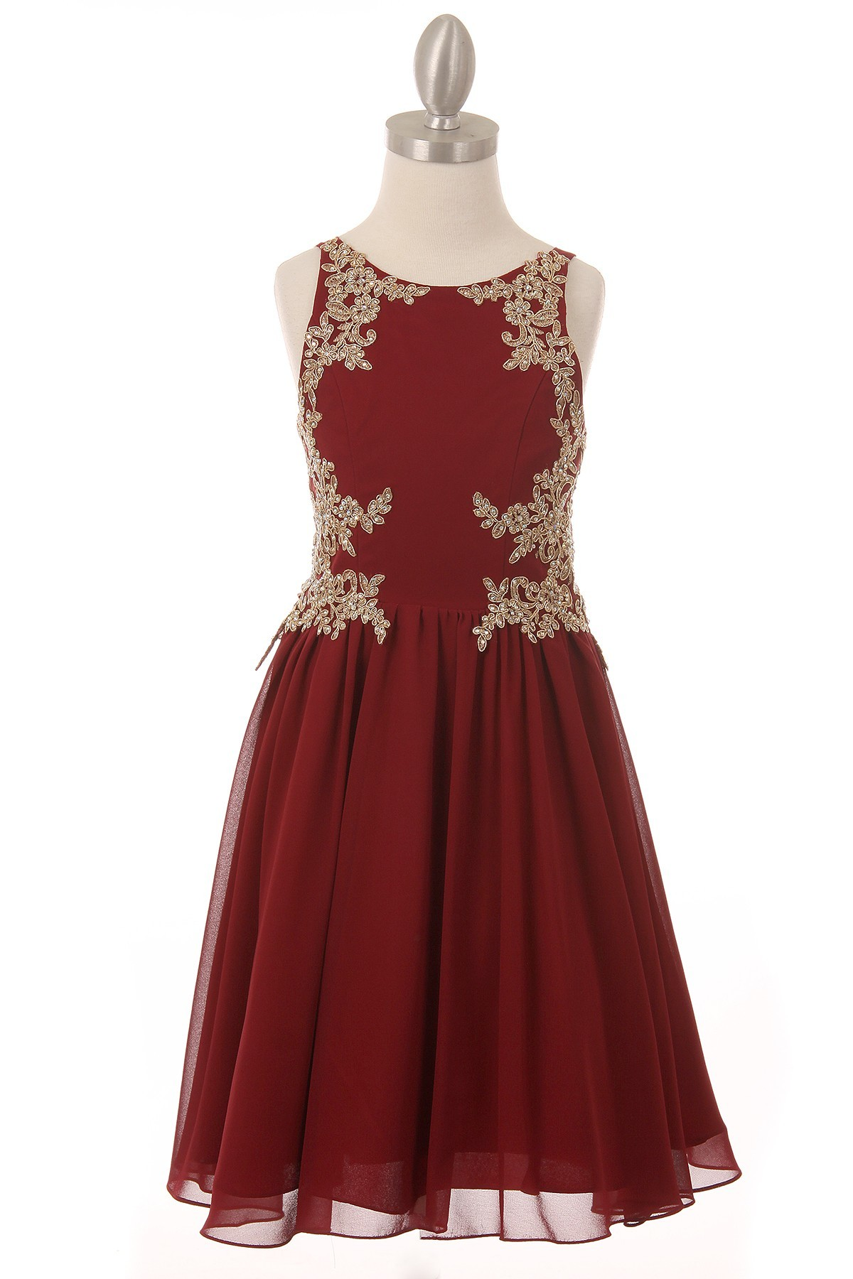 burgundy dress with golden lace