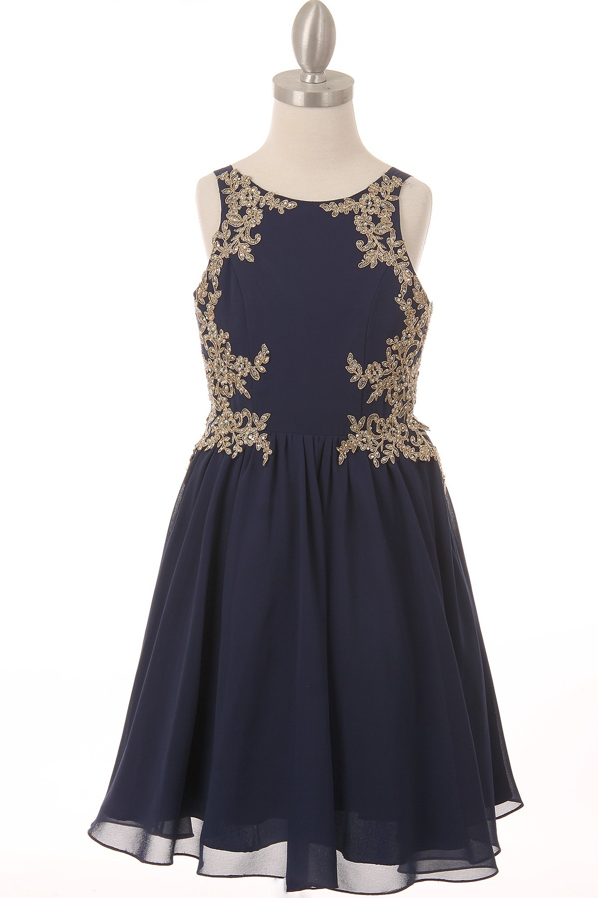 girls navy dress with golden lace