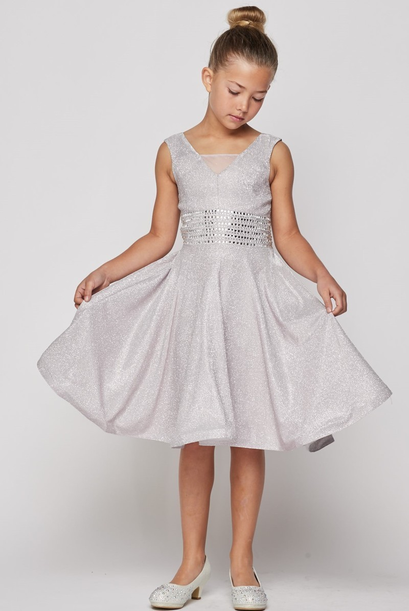 girls silver church dress