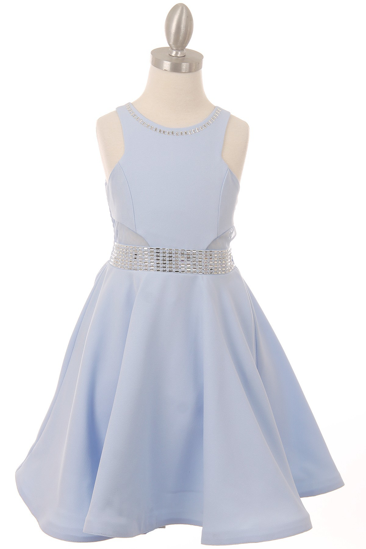 light blue studded dress